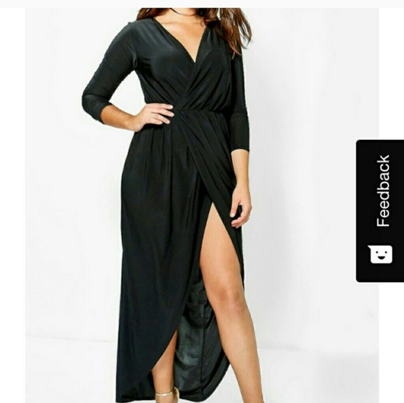 6bb37ce06a1 Boohoo Zoe Slink Wrap Dress Plus U.S. 16